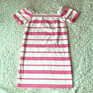 NWT Maison Jules pink & White Off Shoulder Dress